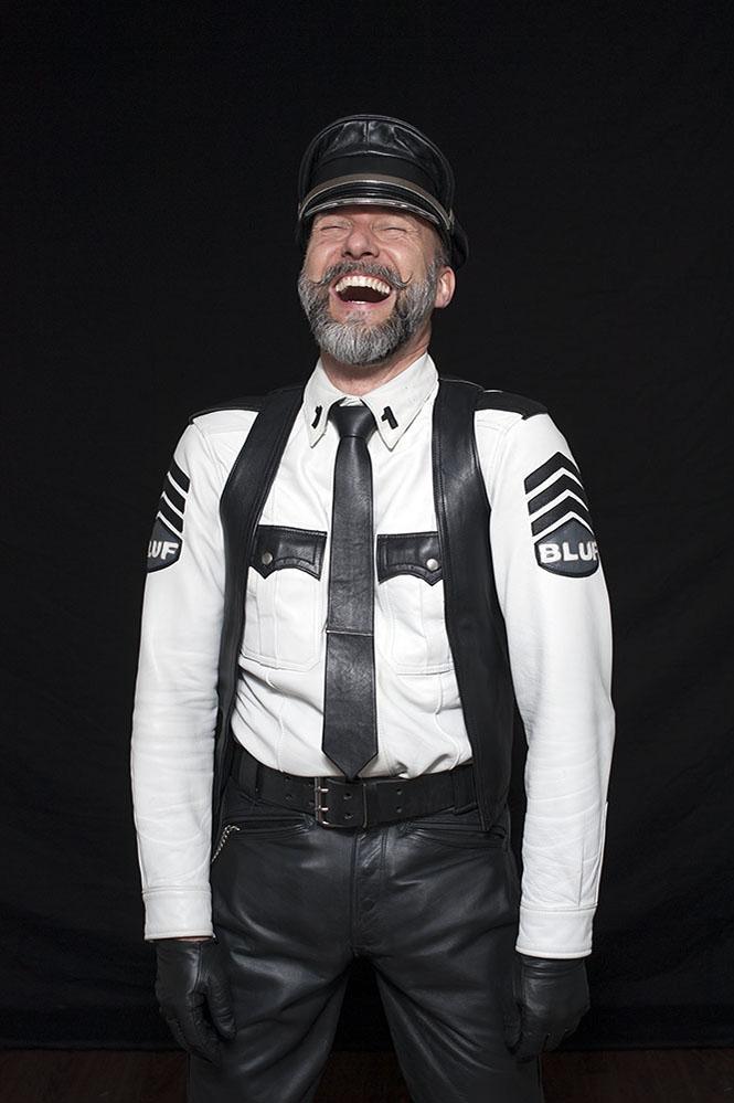 festival portrait laughing leather