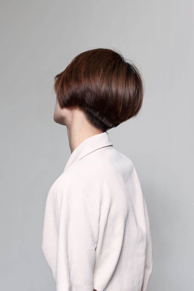 portrait behind short hair